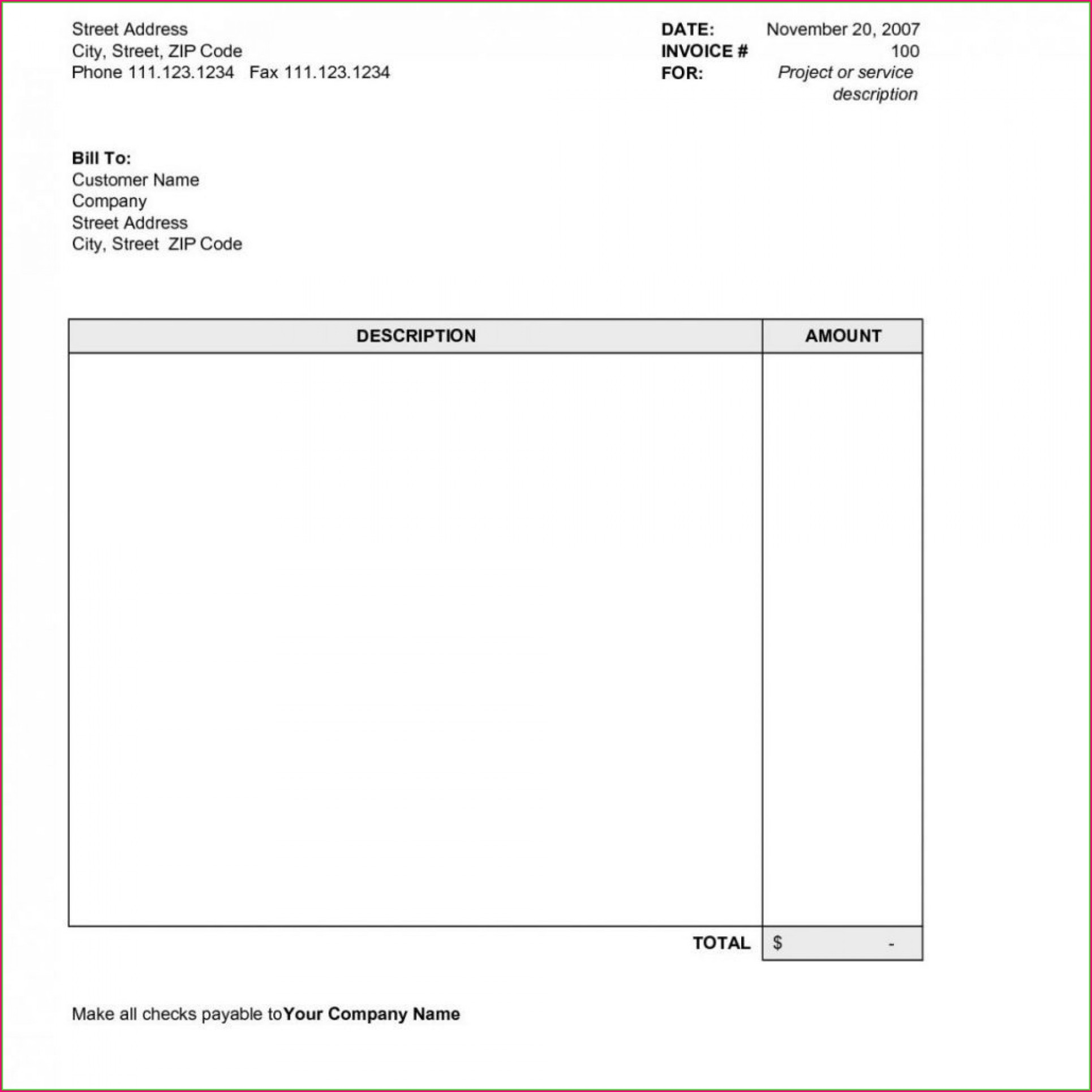 Word Document Downloadable Free Invoice Template Word
