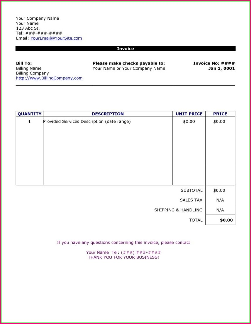 Word Document Service Invoice Template Word Download Free