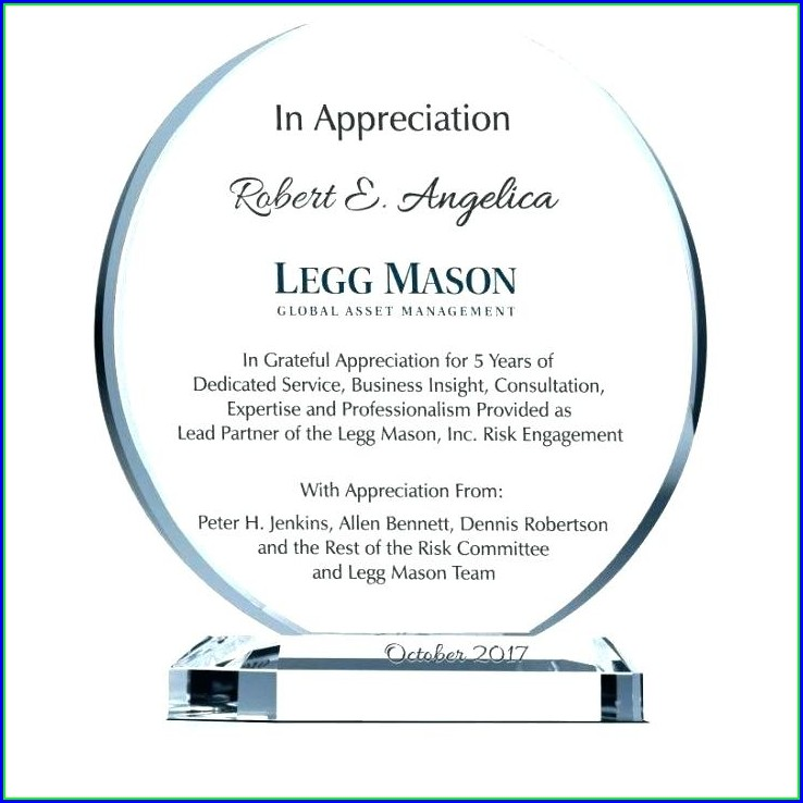 Word Plaque Of Appreciation Template