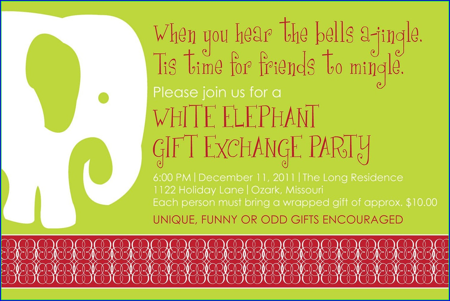 Word White Elephant Invitation Template Free