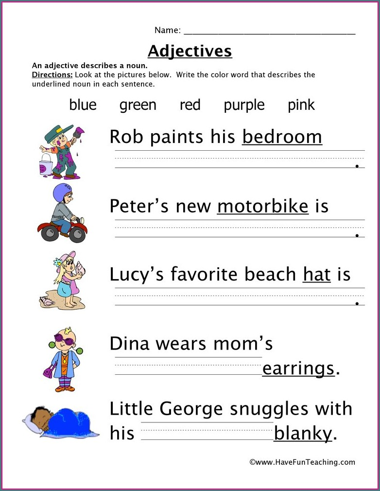 1st Grade Grade 1 1st Grade Adjectives Worksheets
