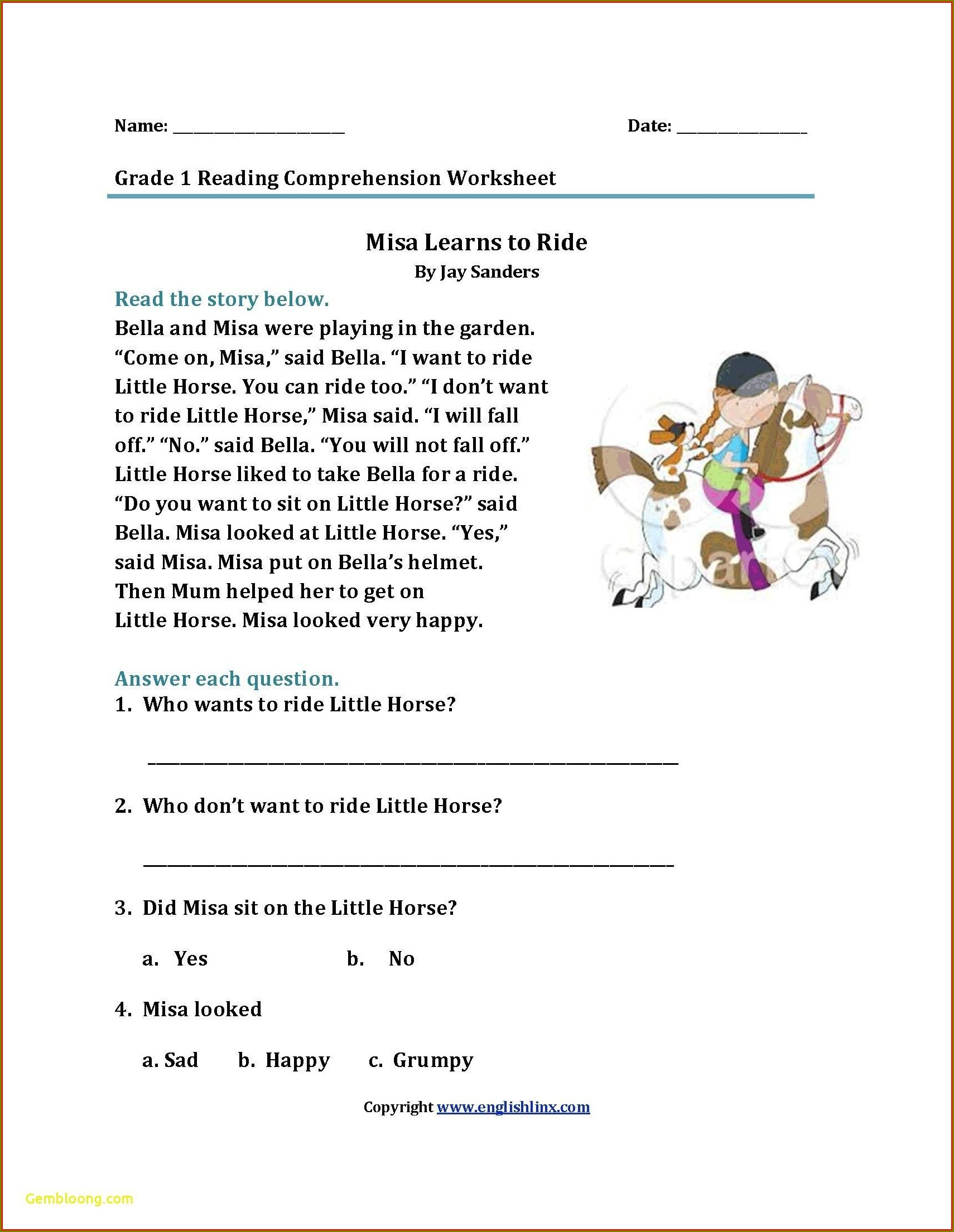 1st Grade Grade 1 Reading Worksheets