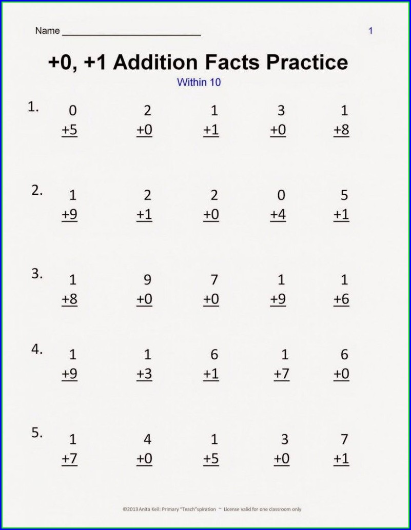 1st Grade Math Worksheets Addition And Subtraction