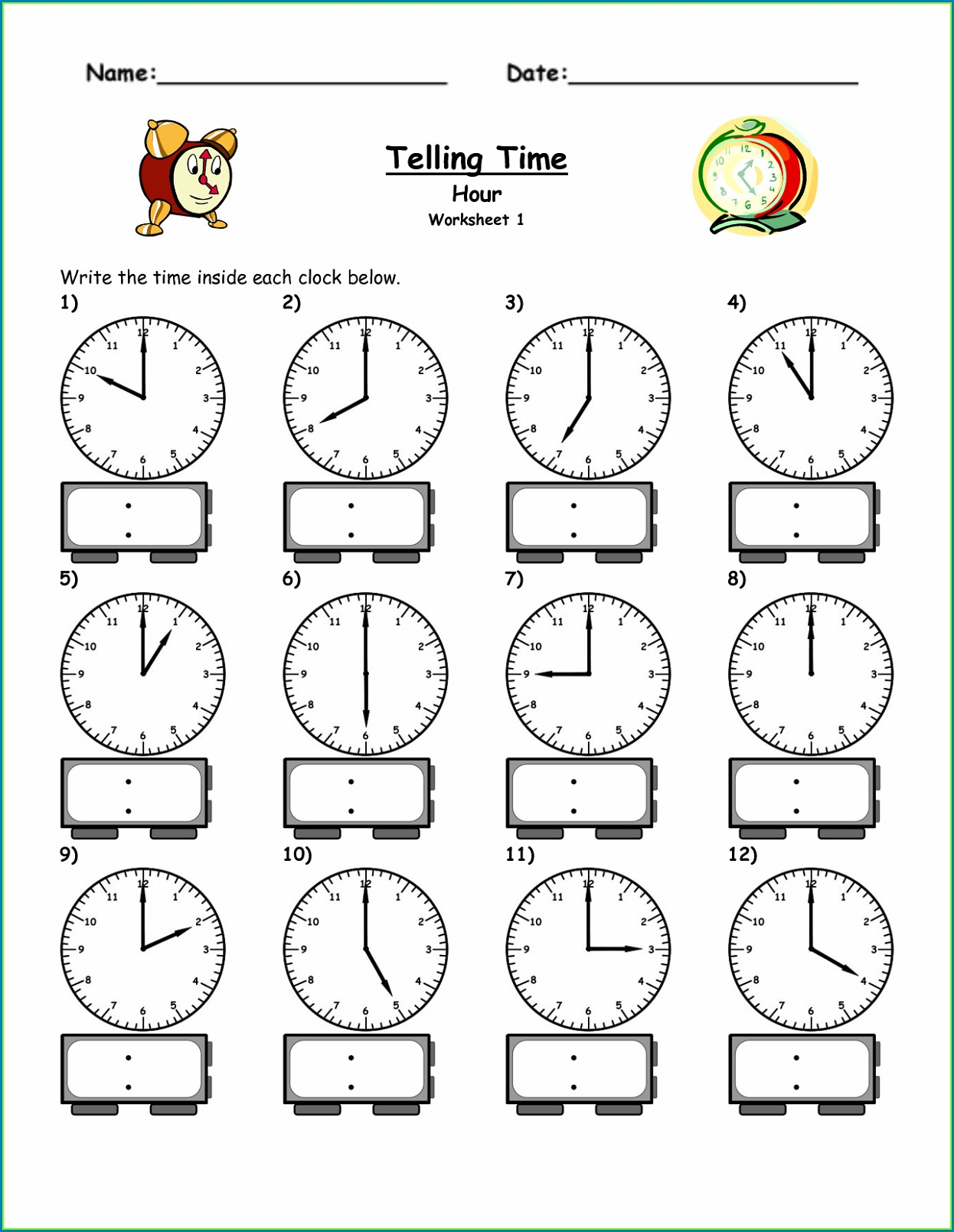 1st Grade Teaching Time Clock Worksheets