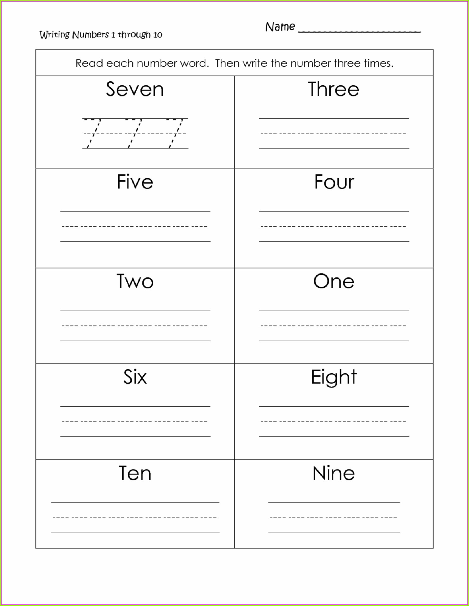 1st Grade Writing Numbers Worksheet