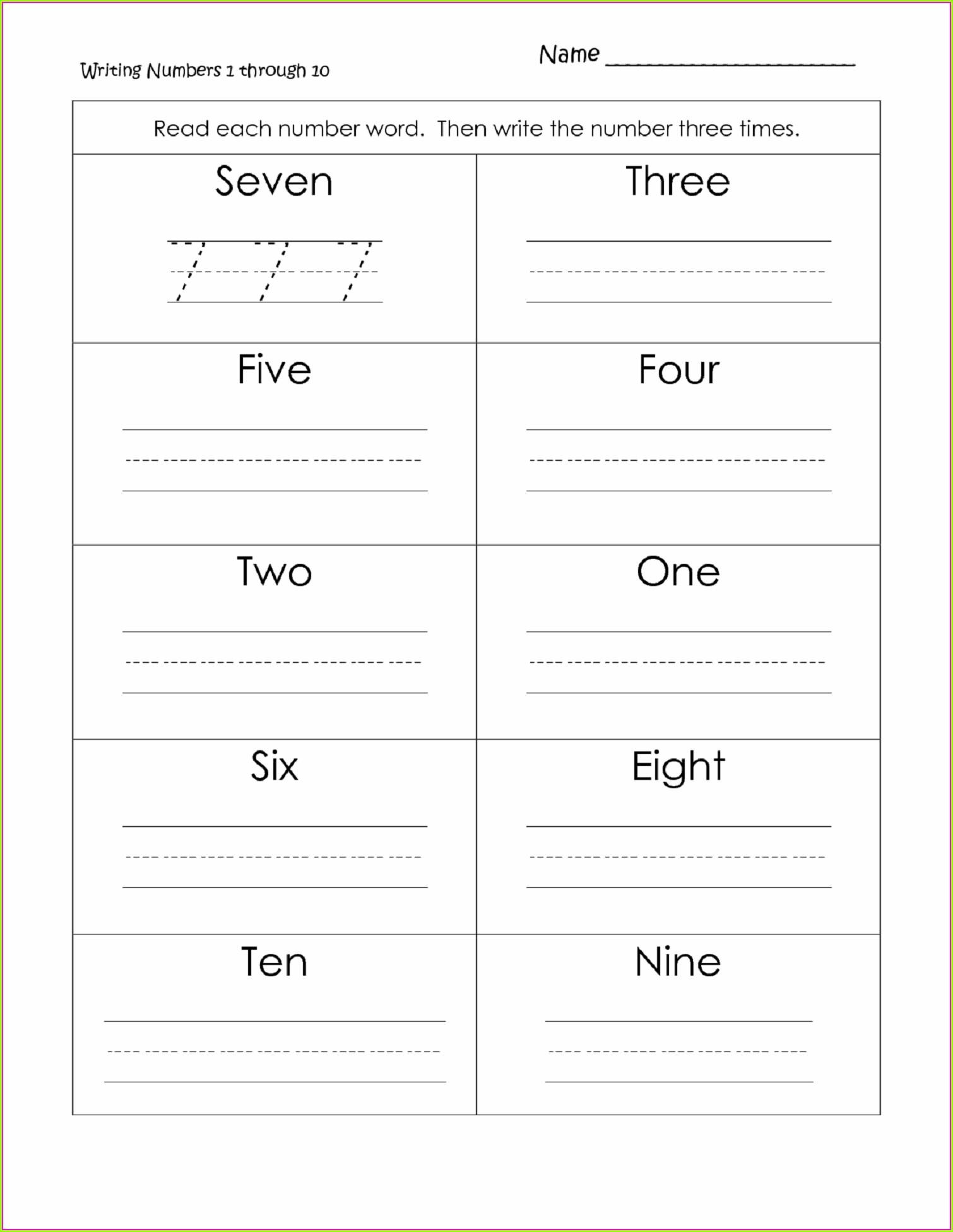 1st Grade Writing Numbers Worksheet