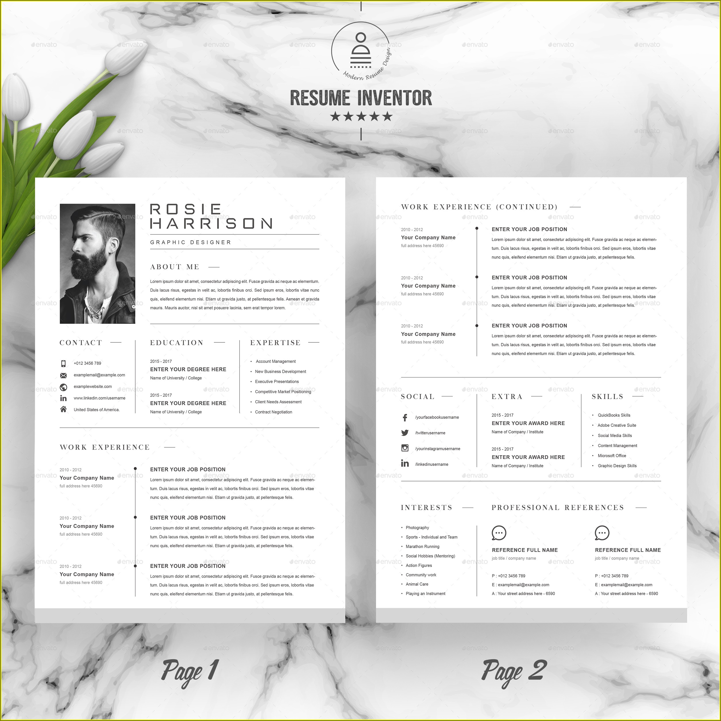 2 Pages Resume Template Free Download