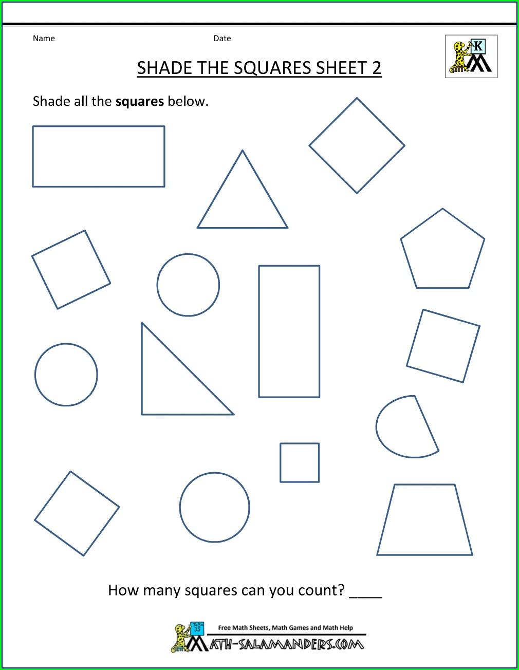 2d Shapes Worksheet For Kindergarten