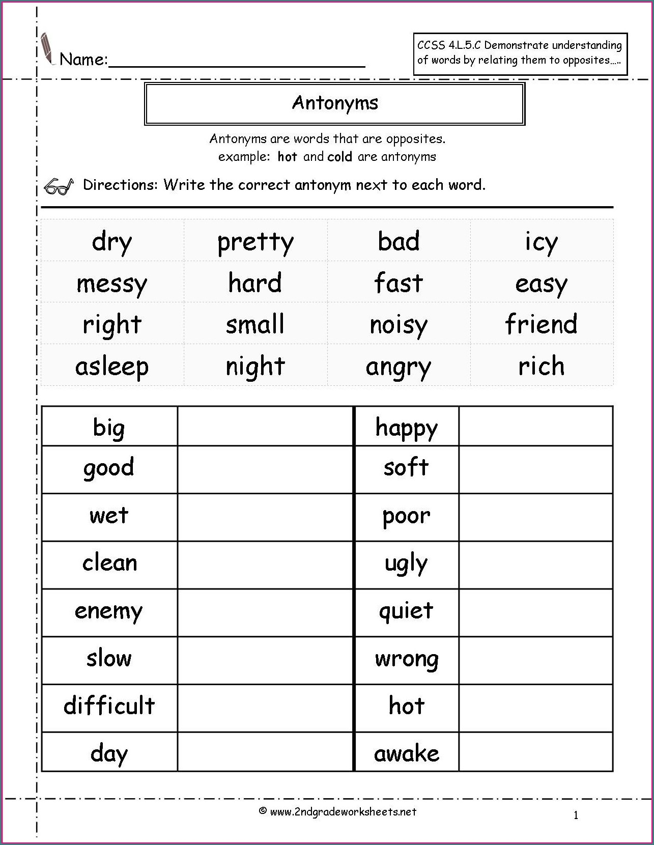 2nd Grade 1st Grade Adjectives Worksheets