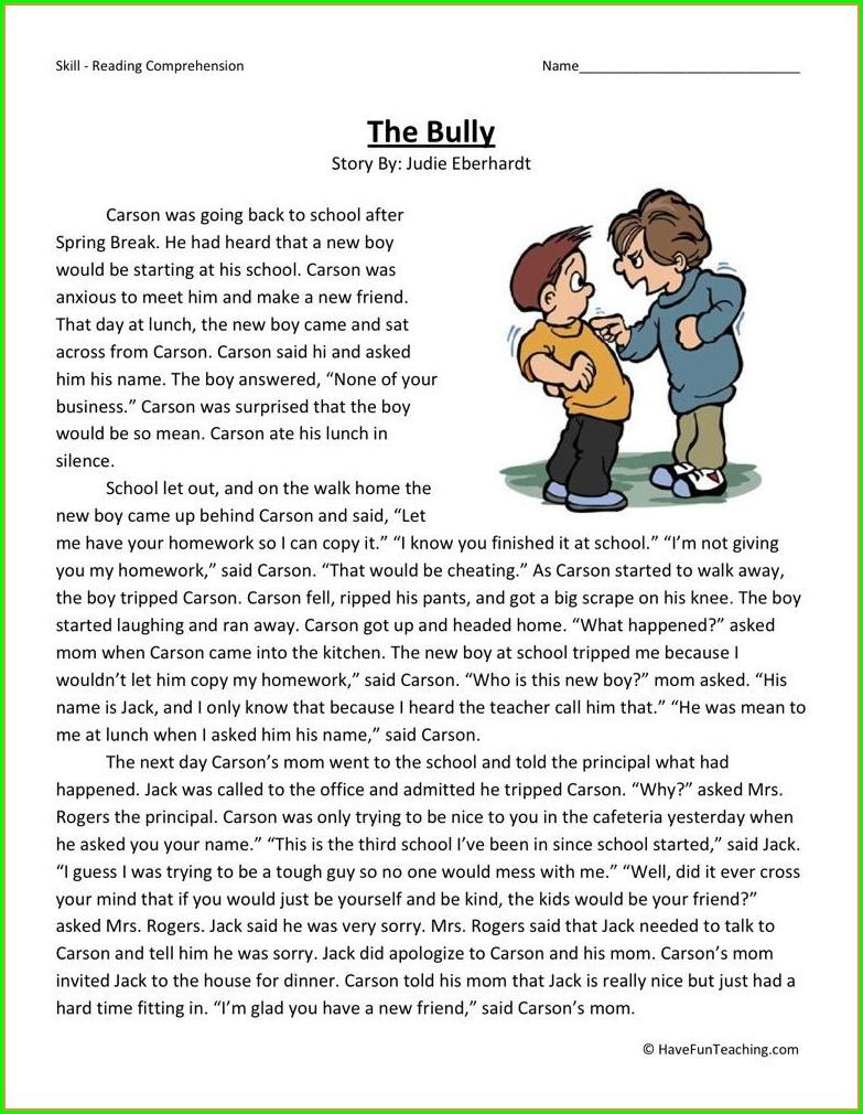 2nd Grade Bullying Worksheets