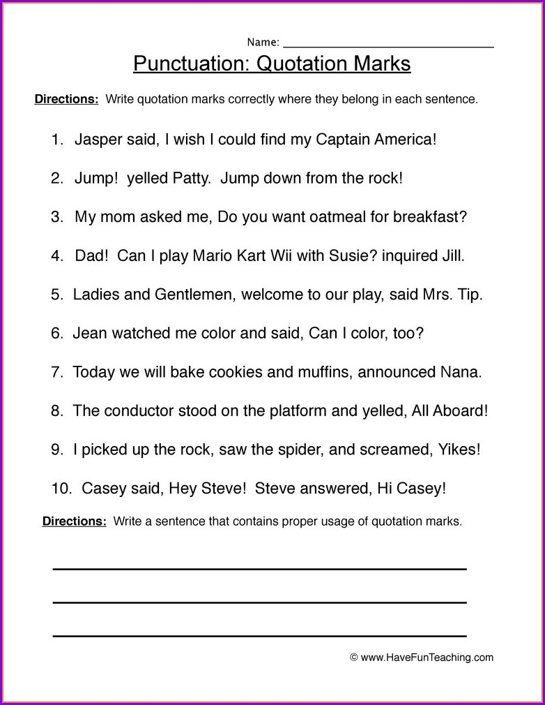 2nd Grade Capitalization And Punctuation Worksheets With Answers