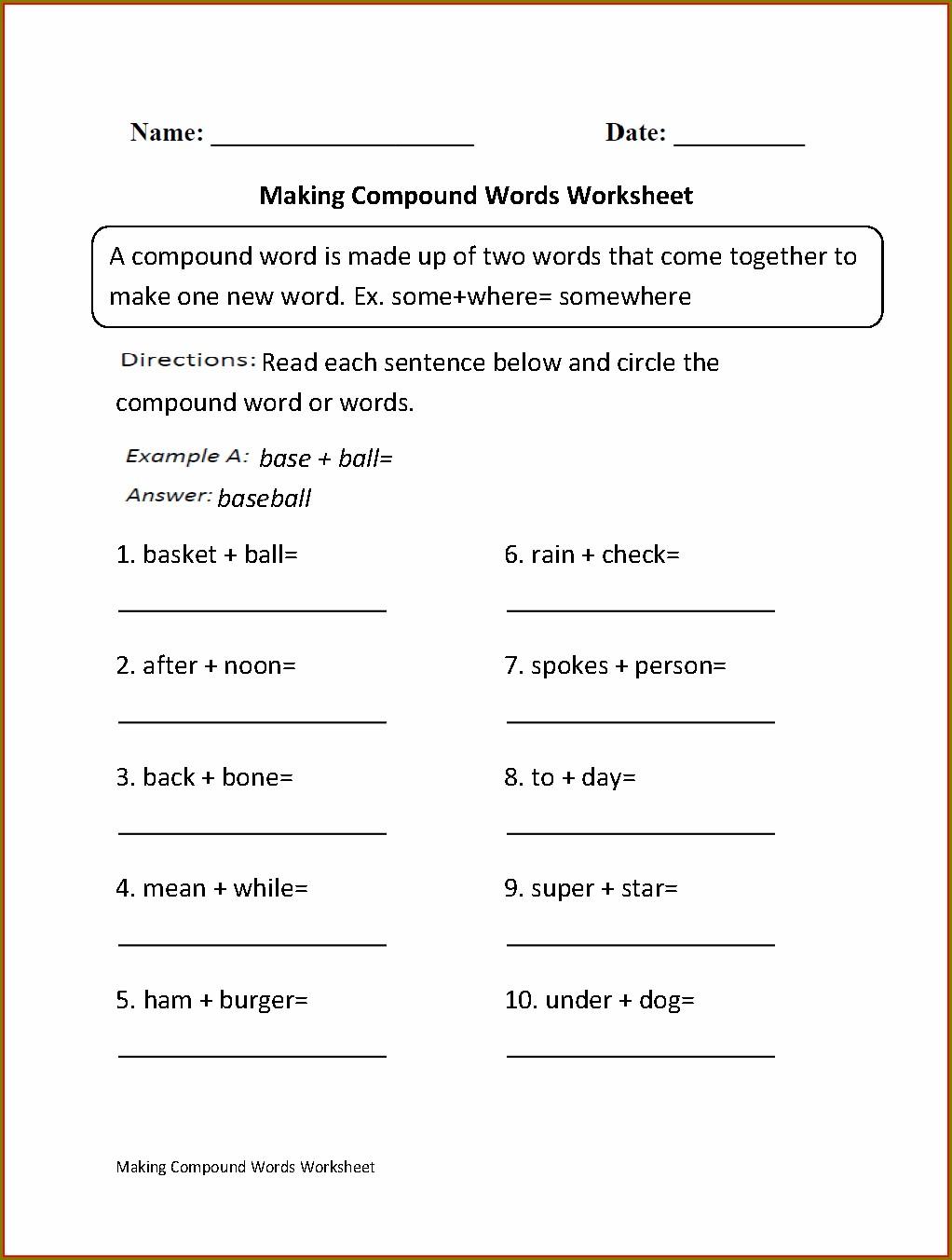 2nd Grade Compound Word Worksheet