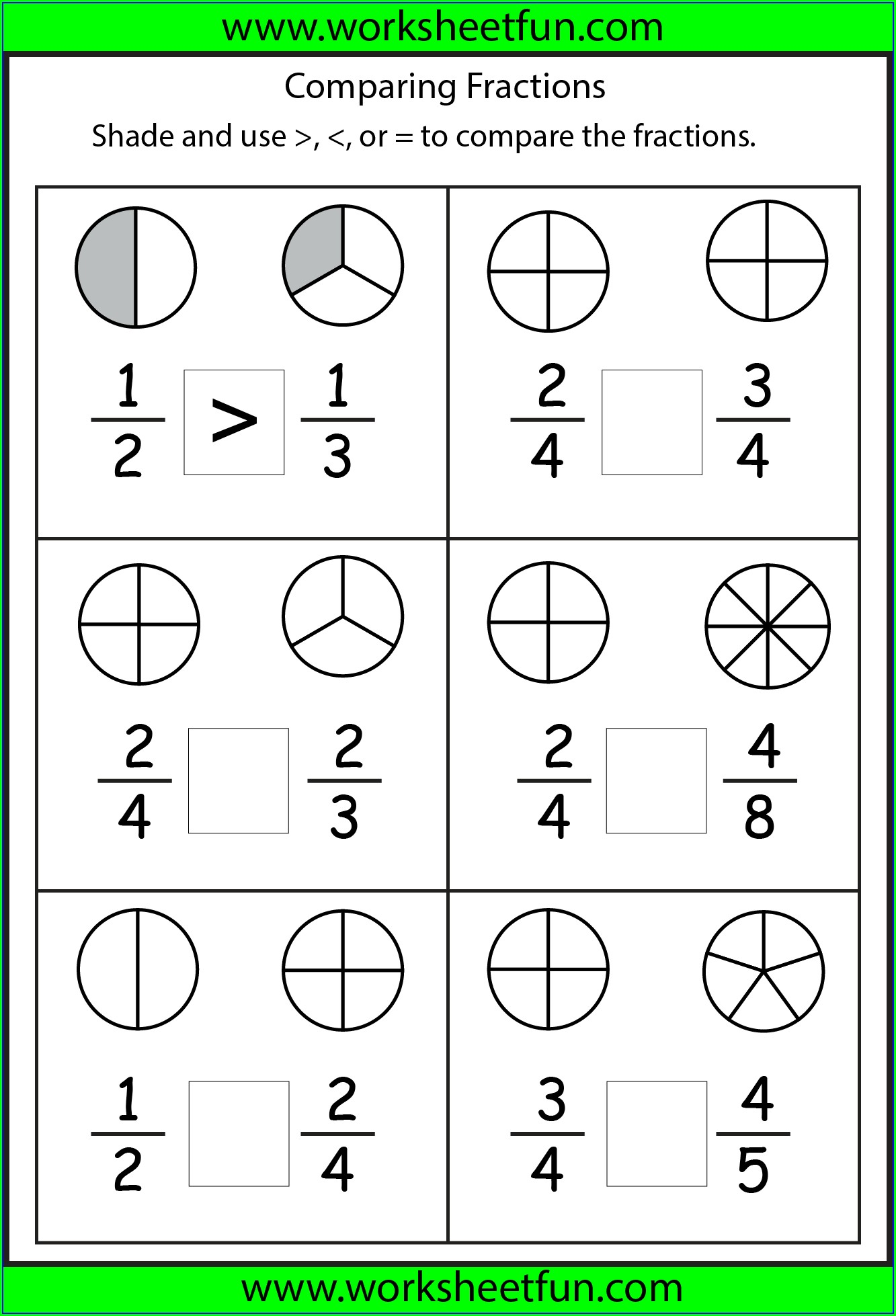 2nd Grade Fractions Worksheets Pdf