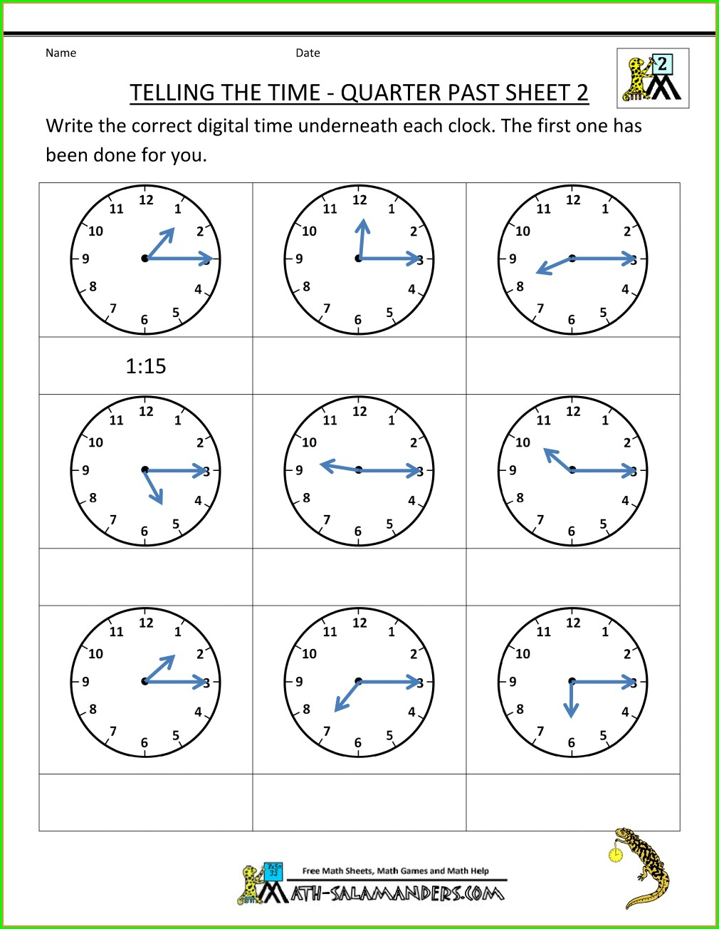 2nd Grade Free Clock Worksheets