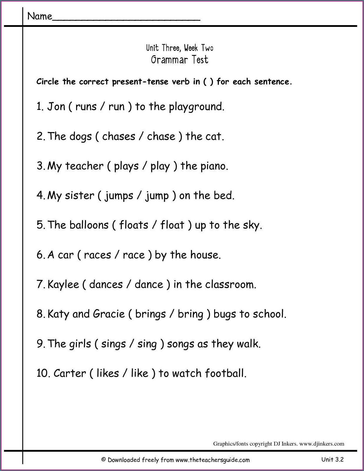 2nd Grade Grade 2 Verbs Worksheet