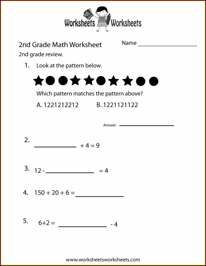 2nd Grade Math Review Worksheets
