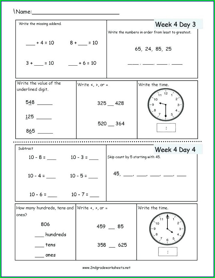 2nd Grade Math Worksheets Time And Money