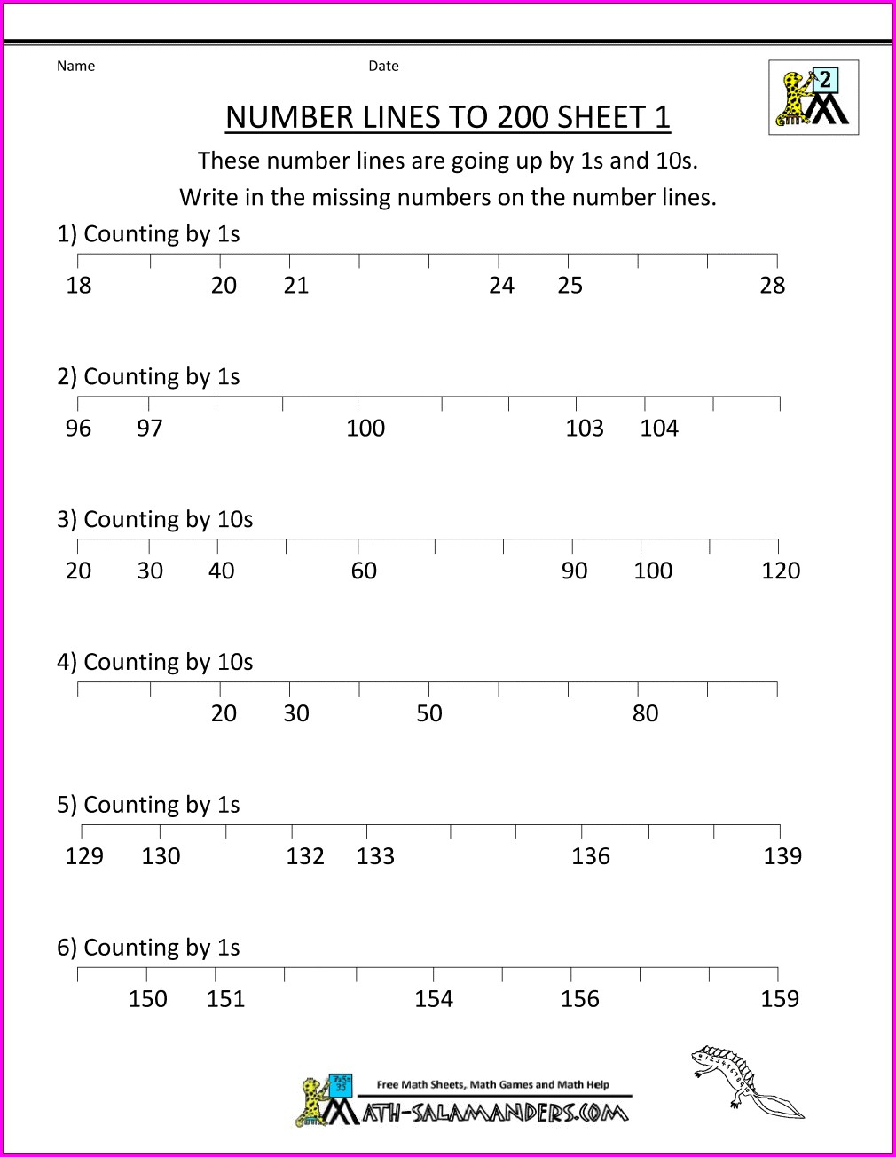 2nd Grade Number Line Addition Worksheets
