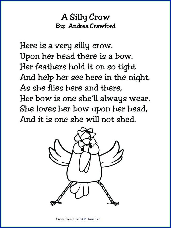 2nd Grade Poetry Comprehension Worksheets