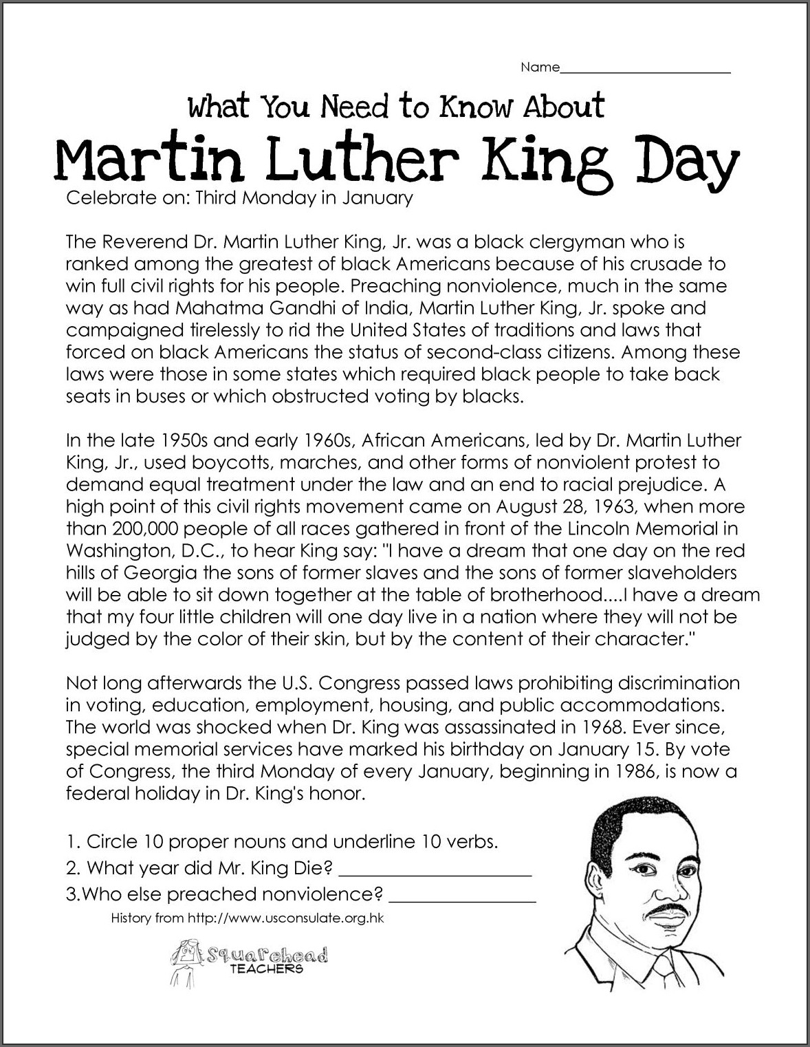 2nd Grade Printable Martin Luther King Jr Worksheets