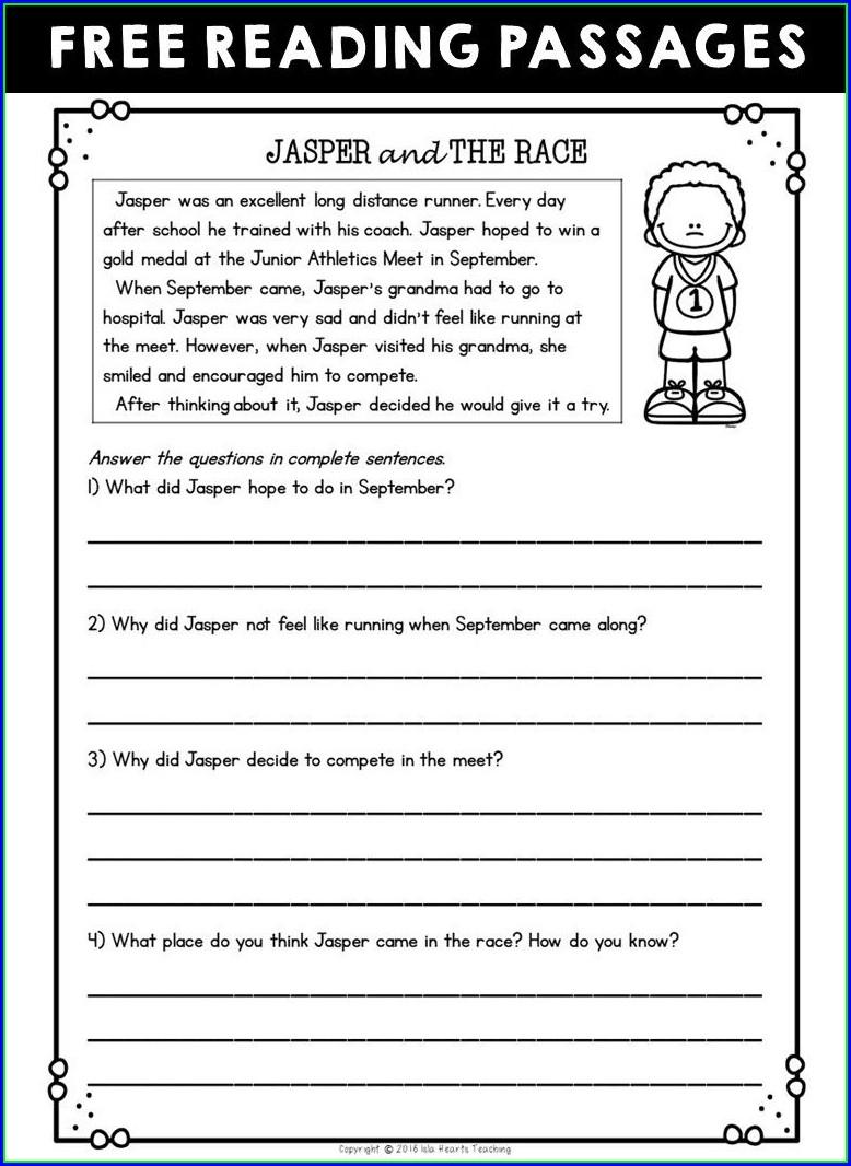 2nd Grade Printable Reading Comprehension Worksheets