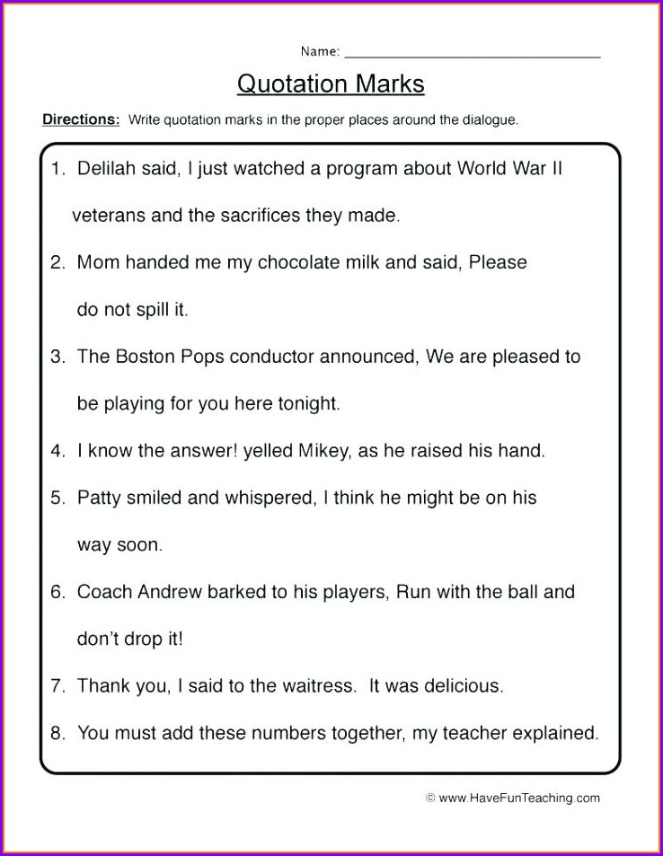 2nd Grade Punctuation Worksheets