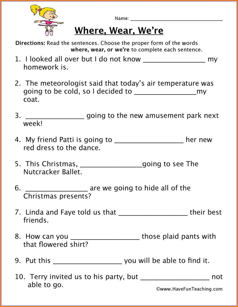 2nd Grade Worksheet On Homophones