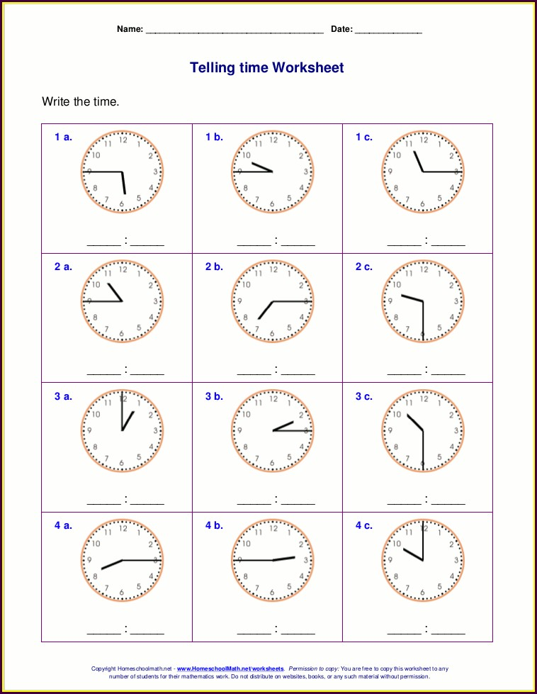 2nd Grade Worksheet On Time For Class 2