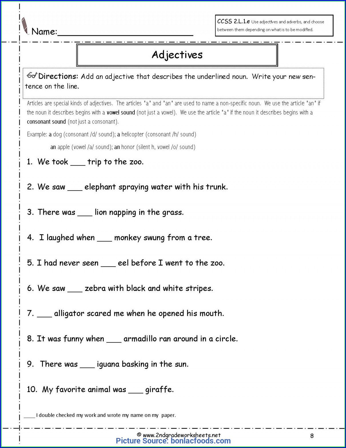 2nd Grade Worksheets For Adjectives