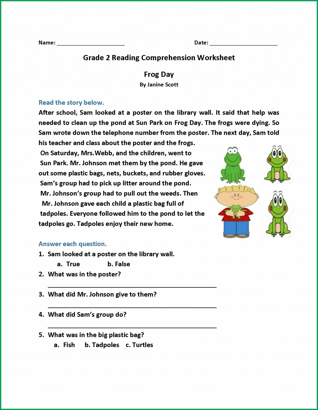 2nd Grade Worksheets Reading Comprehension