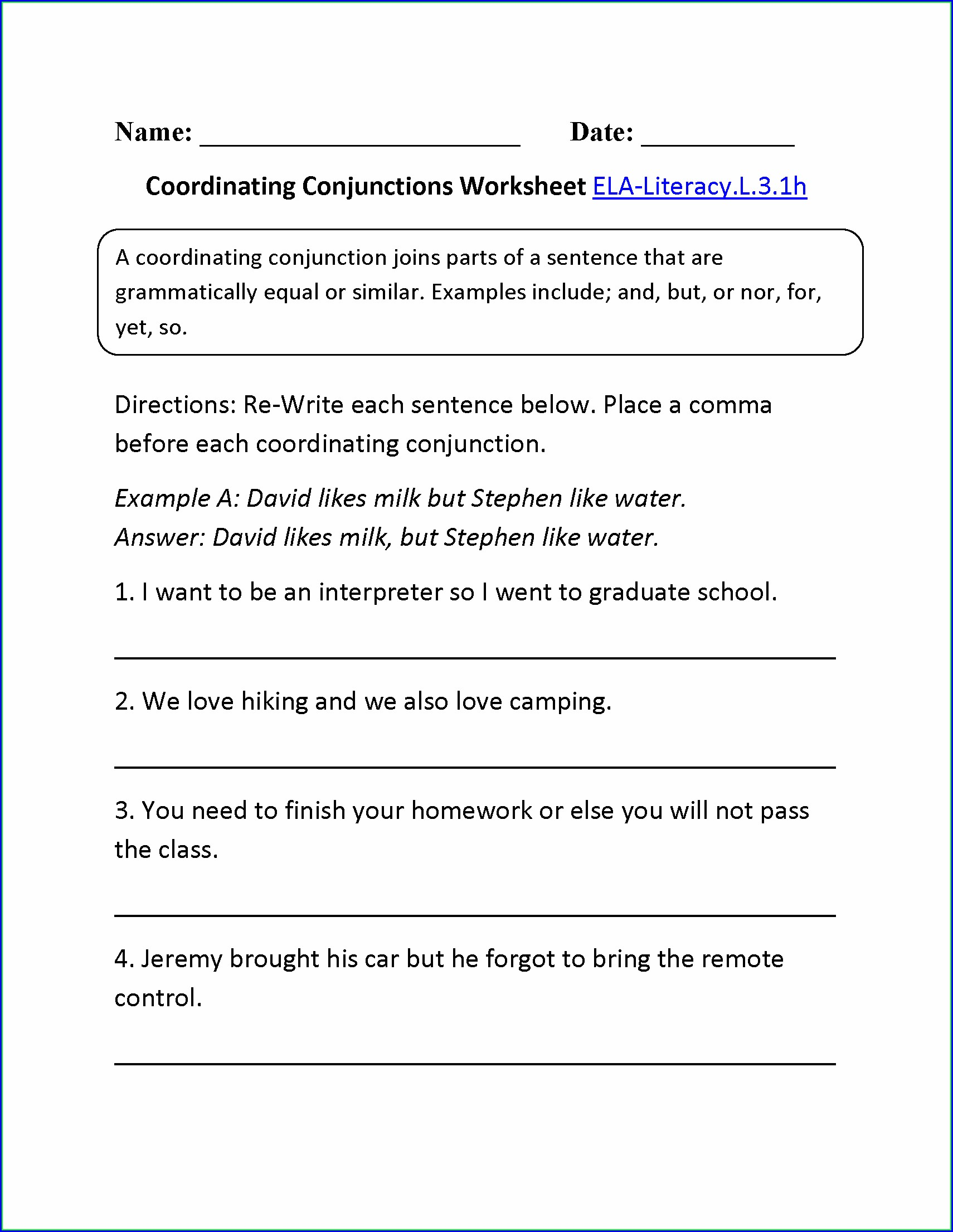3rd Grade Basic Conjunctions Worksheets
