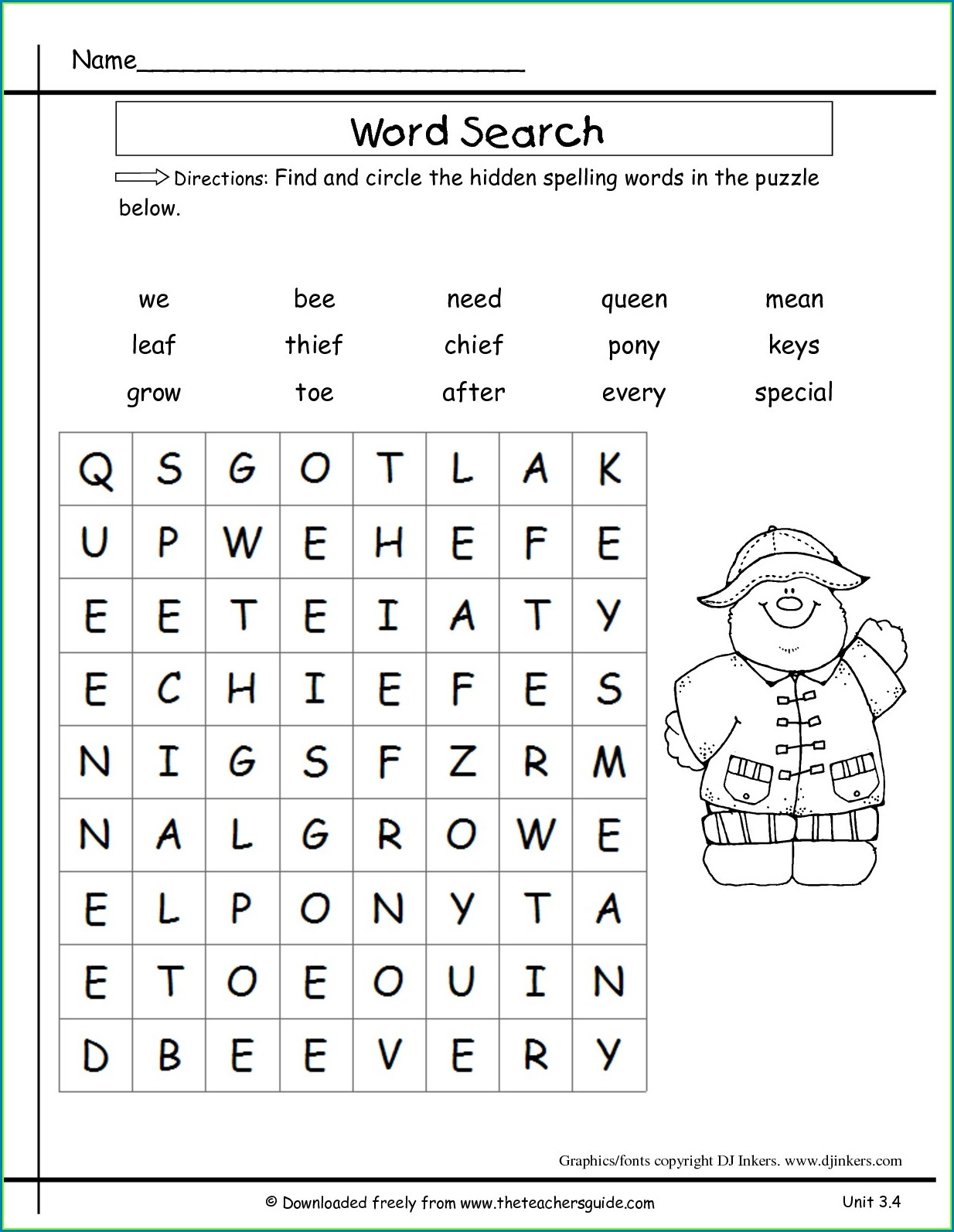 3rd Grade College Search Worksheet