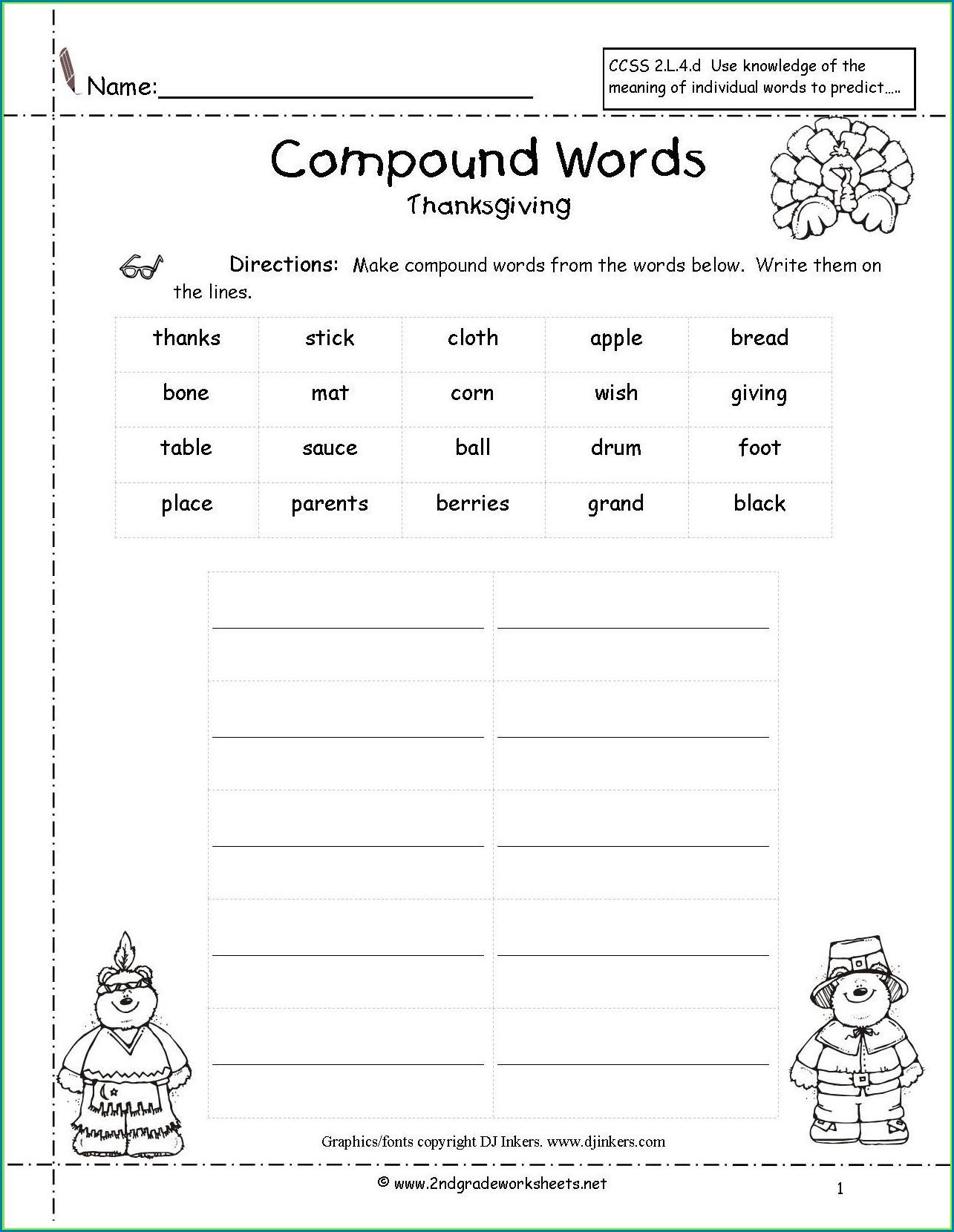 3rd Grade Compound Word Worksheet