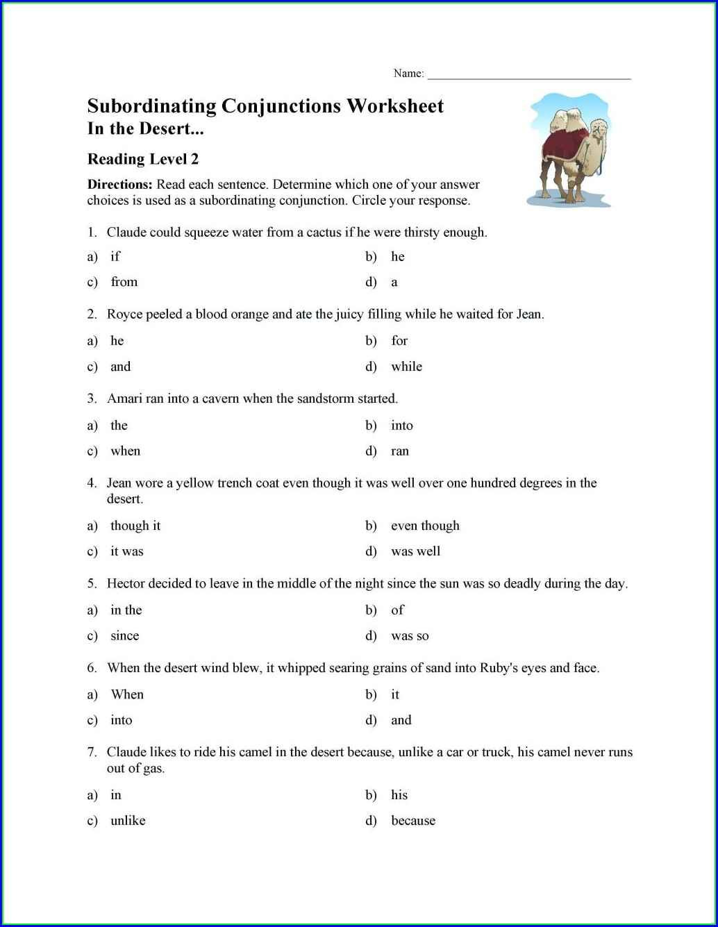 3rd Grade Conjunctions Worksheet For Class 3