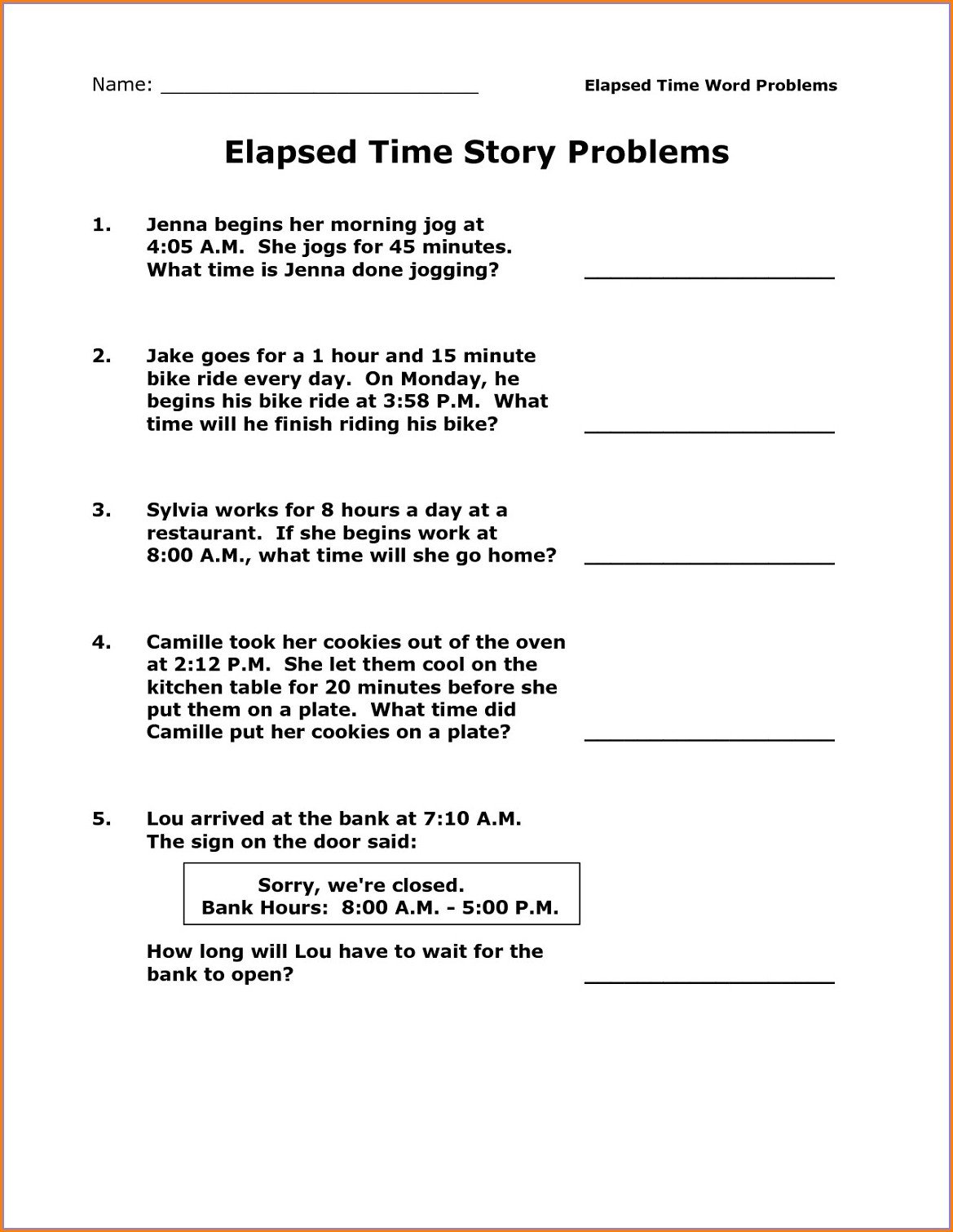 3rd Grade Elapsed Time Number Line Worksheet