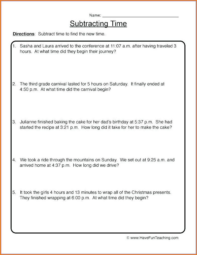 3rd Grade Elapsed Time Worksheets Grade 3