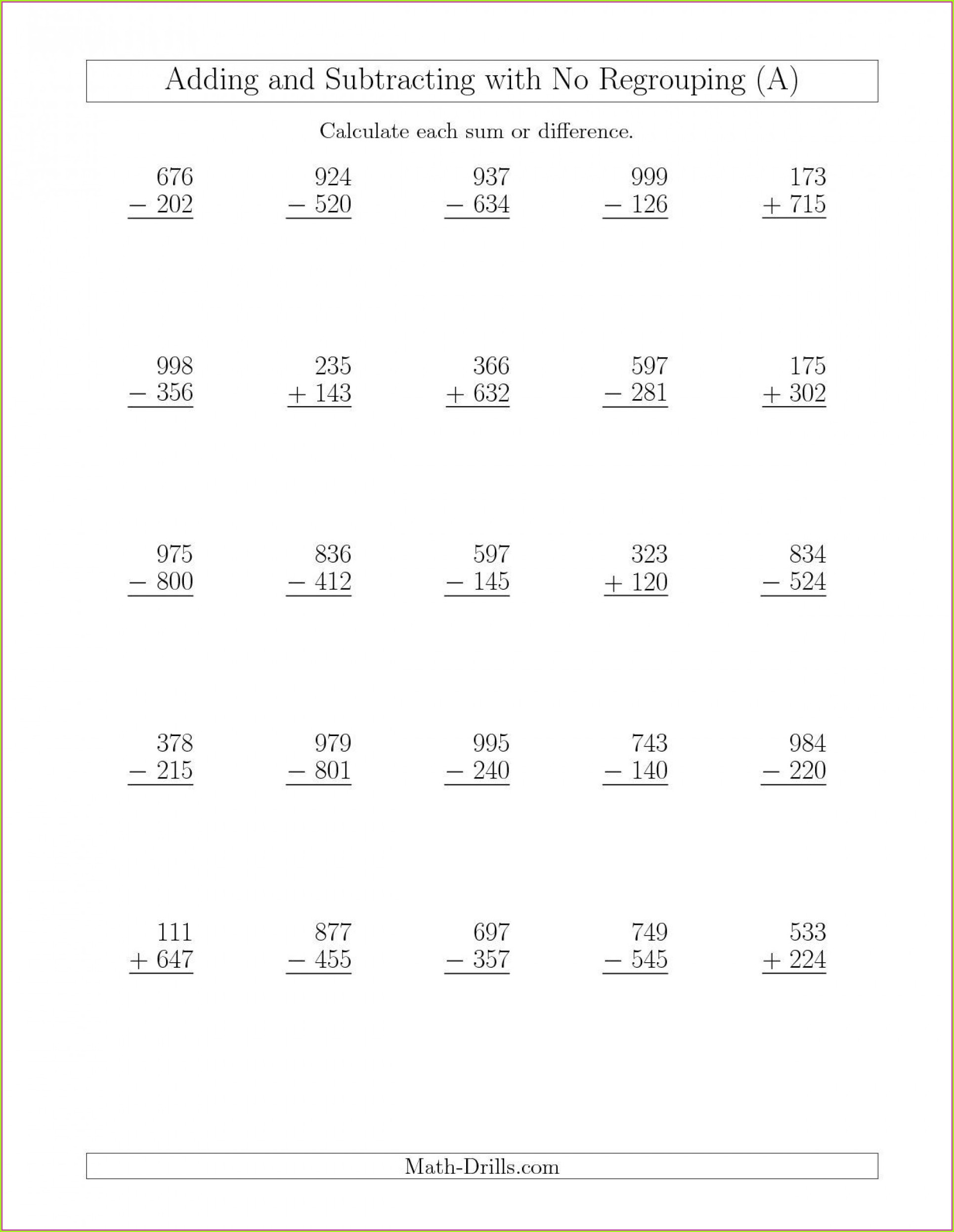 3rd Grade Math Worksheets Addition And Subtraction