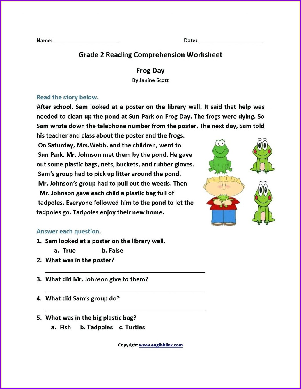3rd Grade Reading Comprehension Worksheets Pdf
