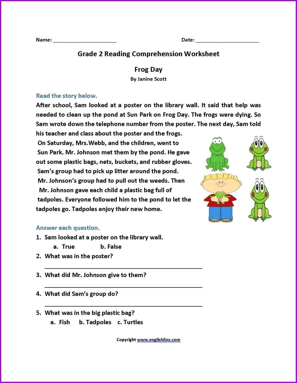 3rd Grade Reading Comprehension Worksheets Pdf