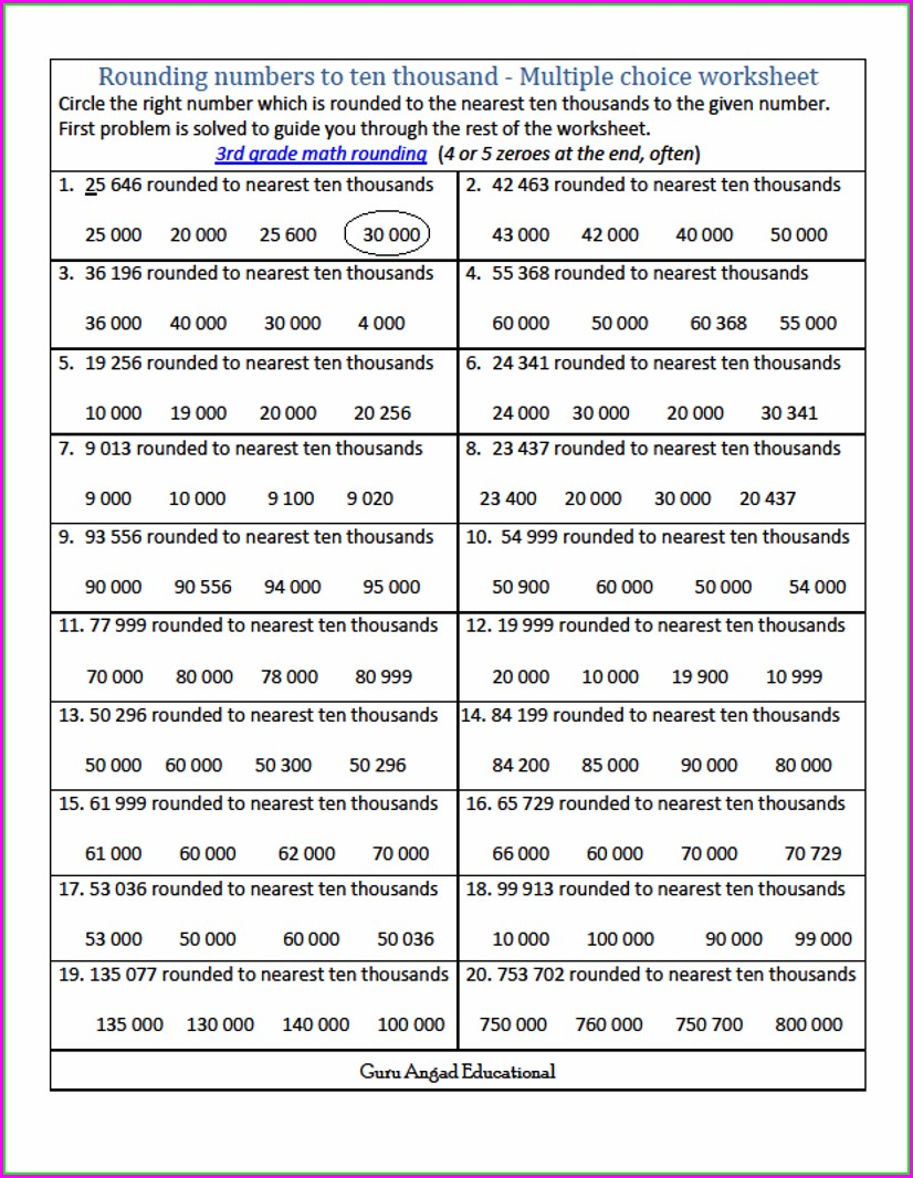 3rd Grade Rounding Numbers Worksheets