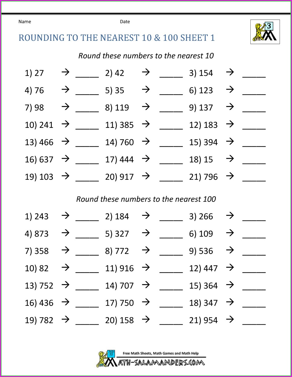 3rd Grade Rounding Whole Numbers Worksheet
