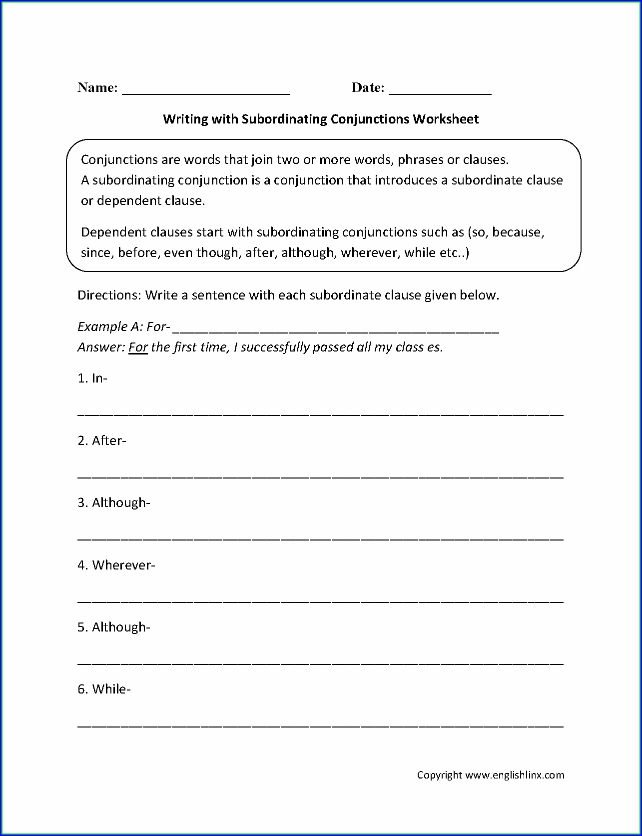 3rd Grade Subordinating Conjunctions Worksheet