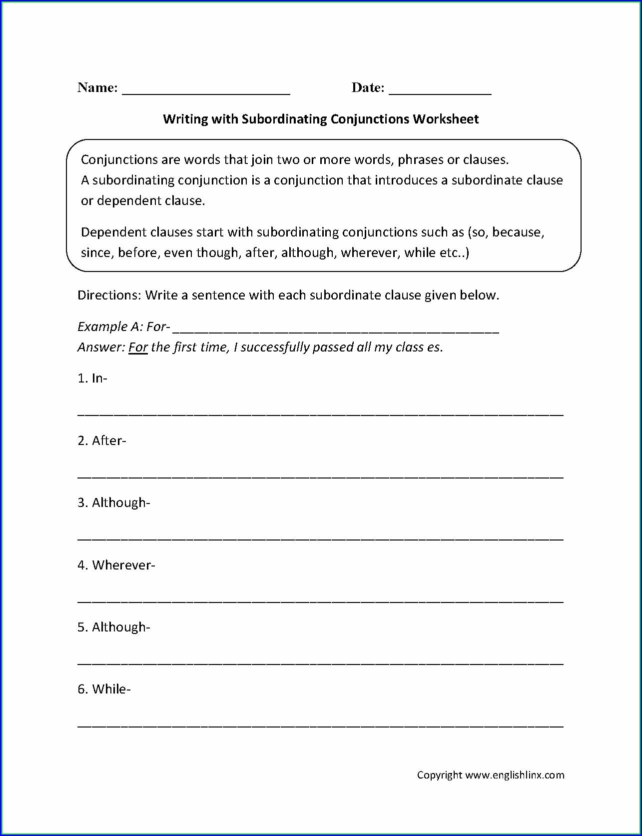 3rd Grade Subordinating Conjunctions Worksheet