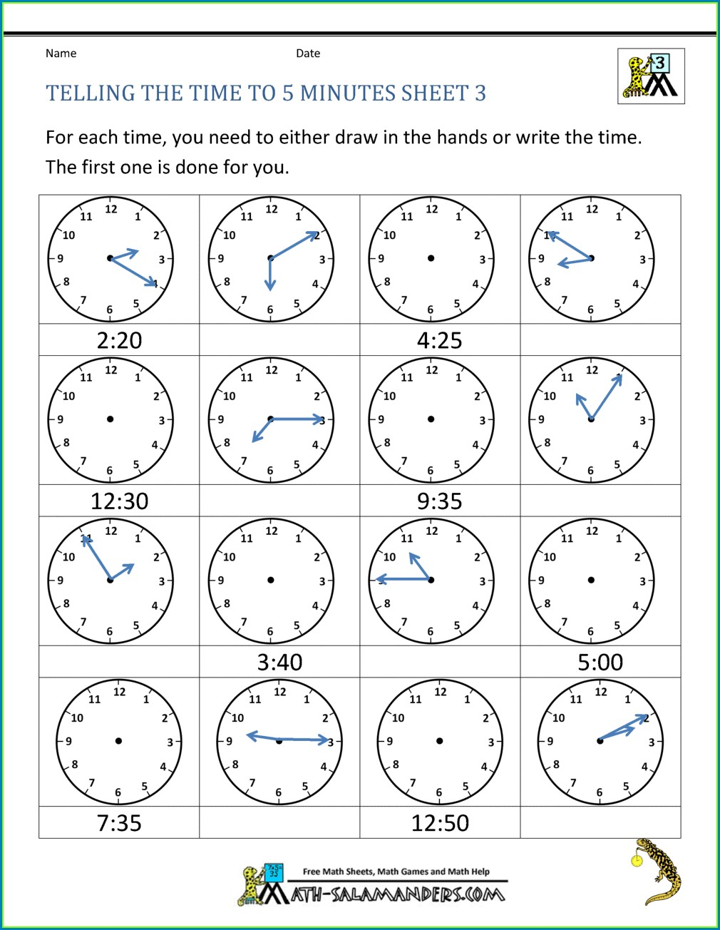 3rd Grade Teaching Time Clock Worksheets