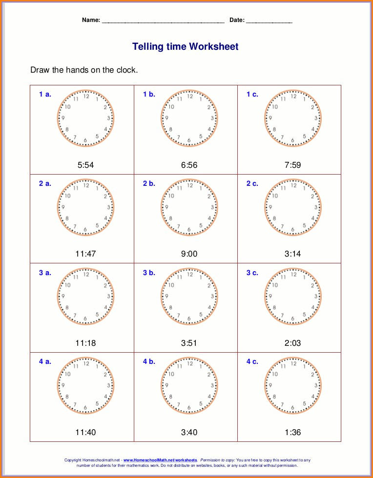 3rd Grade Telling Time Worksheets