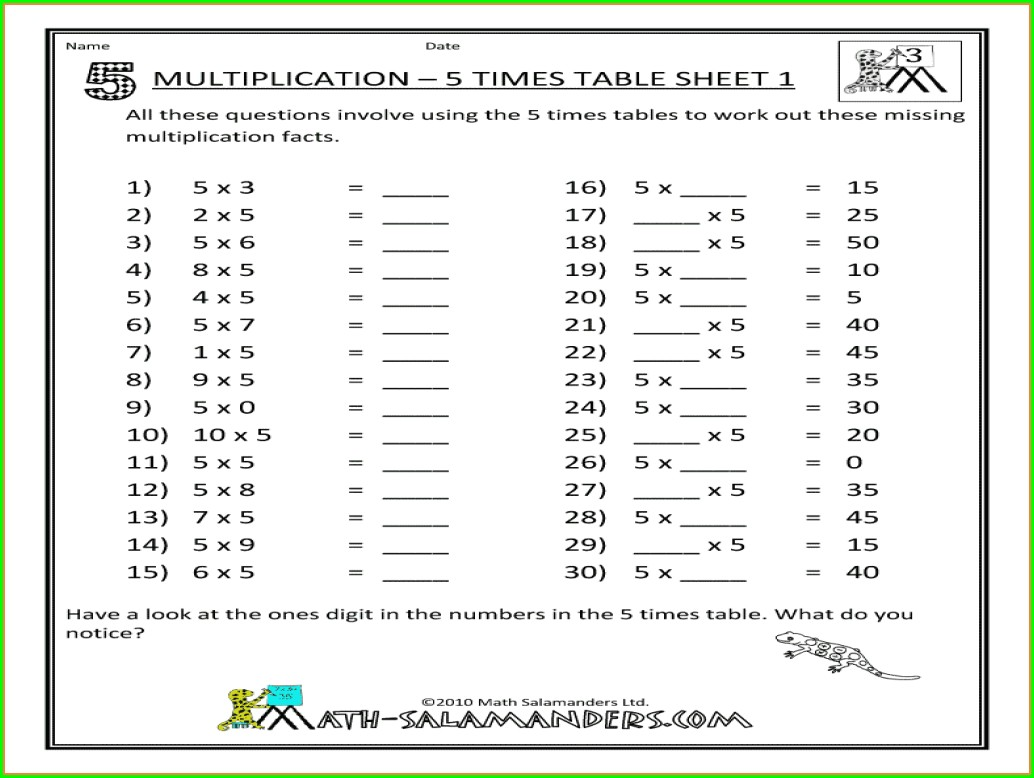 4th Grade 5 Times Table Worksheet