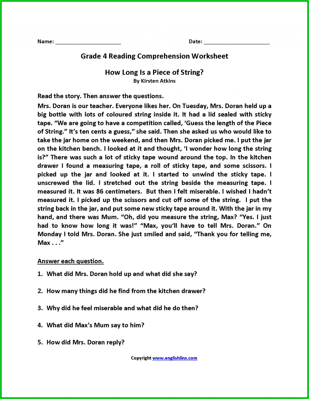 4th Grade Comprehension Worksheet