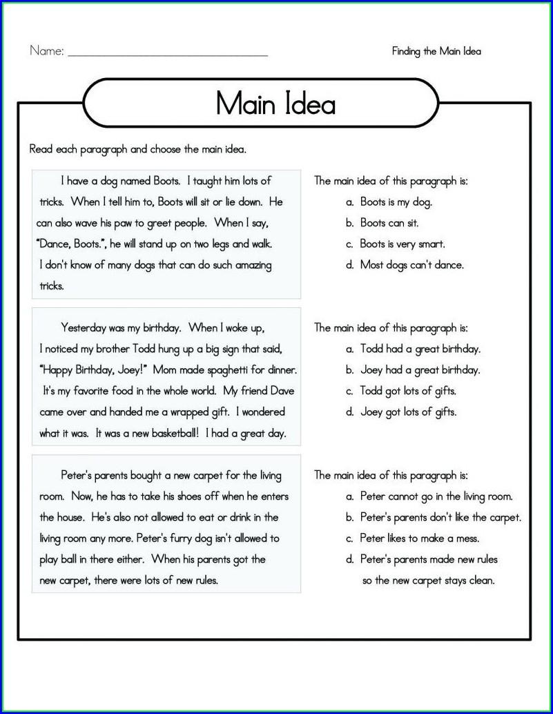 4th Grade Comprehension Worksheets