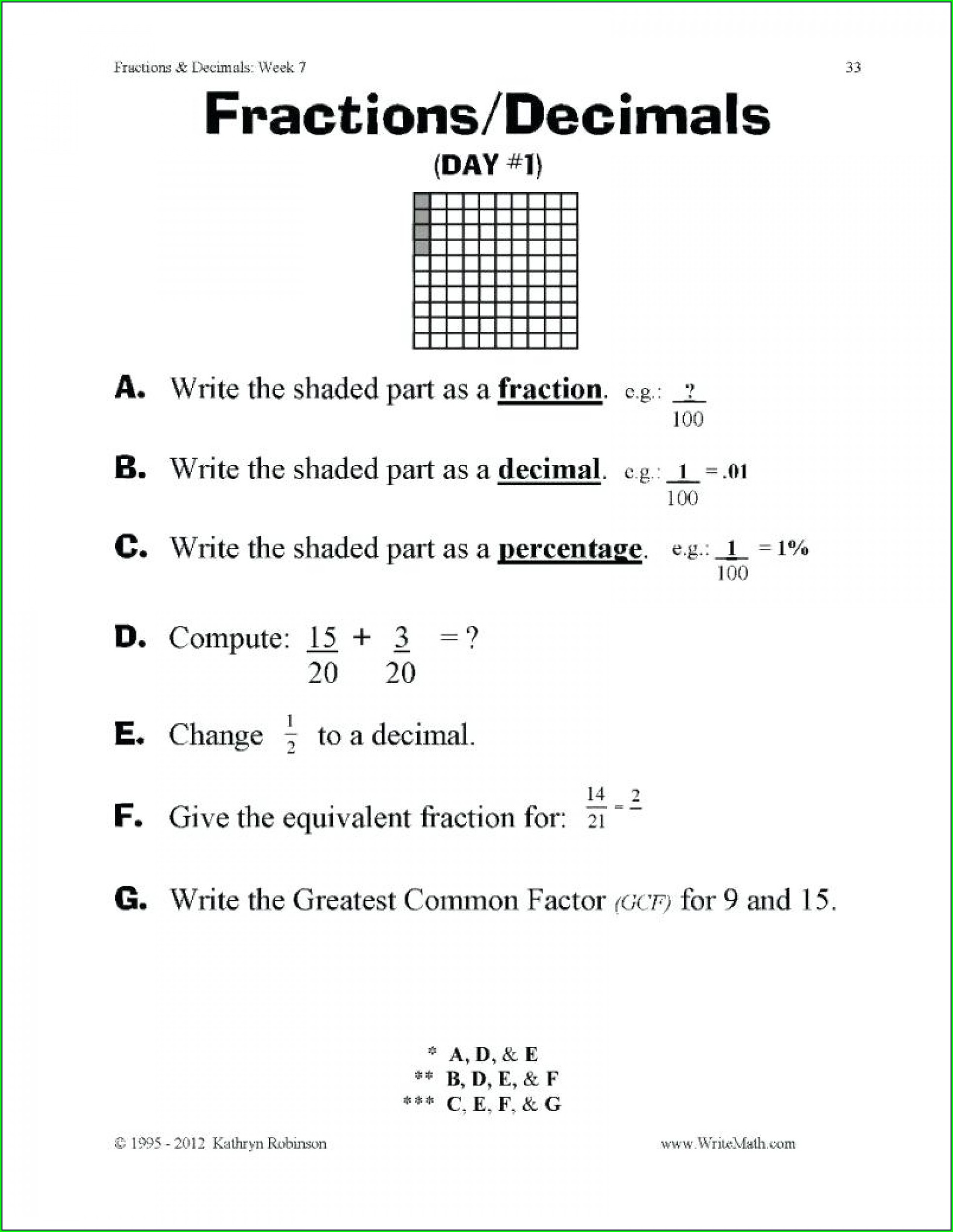 4th Grade Fourth Grade Equivalent Fractions Worksheet