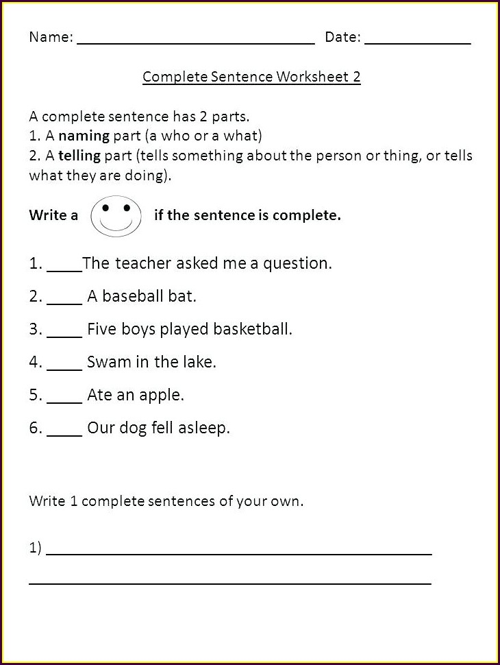 4th Grade Writing Complete Sentences Worksheets